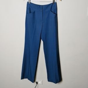 Pants - Women's Navy Blue Wide Leg High Waist Pant 4